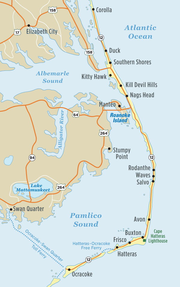 Map Of Outer Banks NC Outer Banks Vacation Guide - Nc maps
